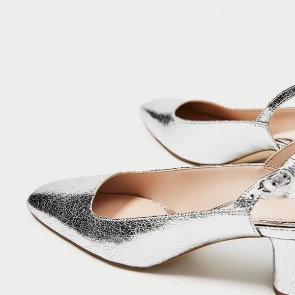 8d530f4b228 NWT Zara Silver Slingback Court Shoes Sz 39